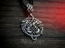 Round Celtic Wolf Knotted Pendant - 925 Silver - Wolves/Celt/Viking/Norse/Fenrir