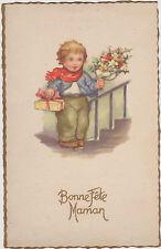 CARTE POSTALE FANTAISIE -BONNE FETE MAMAN-PETIT GARCON-FLEURS-GATEAUX
