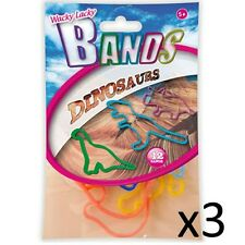 Kids Elastic Bands Wacky Lacky Fun Party Toy Shapes Childrens Dinosaurs 3 Packs