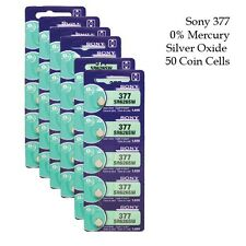 Sony SR626SW (377) 1.55V Silver Oxide Watch Battery  0%Hg  (50 Coin Cells)