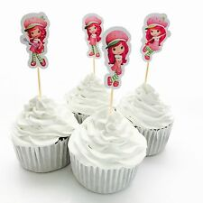 12x Strawberry Shortcake CUPCAKE TOPPERSParty Supplies Lolly Loot Bag *HANDMADE*
