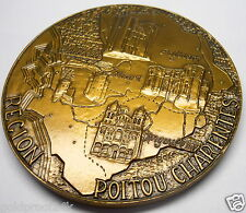 HUGE 90mm POITOU CHARENTES REGION OF FRANCE , MONNAIE DE PARIS ART BRONZE MEDAL