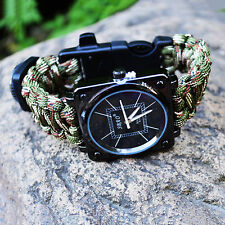 Survival Kit Paracord Bracelet Watch Compass Whistle Flint Fire Starter Scraper