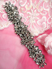 JB177 Black Backing Crystal Rhinestone Applique Glass Bridal Sash Patch 8""
