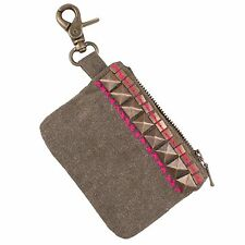 Studded Canvas Pouch w/ Clip | Coin Purse | Wallet | Handcrafted in India