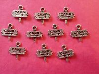 Tibetan Silver Camp Sign Charms 10 per pack - holiday/camping themes