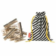 Ferm Living Striped Birch Wooden Clothes Pins with Black Storage Bag - 20ct