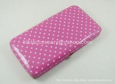 PINK MINI POLKA DOT FLAT OPERA WALLET CLUTCH PURSE HANDBAG COIN CREDIT CARD BAG