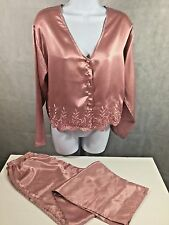 Vintage Victoria's Secret Rose Pink Pajama Set Size Small Gold Label