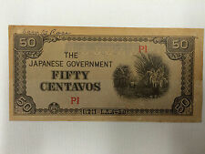 JAPANESE INVASION BANK NOTE 1942 WWII PHILIPPINES MONEY FIFTY CENTAVOS P1