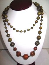 NECKLACE LONG ON WIRE BEADED DARKENED FILIGREE FAUX AMBER GLITTER OLIVE BRASS