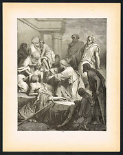 1880's ANTIQUE Old Vintage Jesus Healing The Sick Bible Art Engraving PRINT