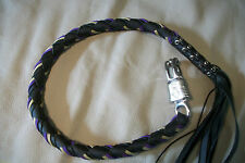 Biker whip getback motorcycle Black leather & Purple and gold paracord!!!!