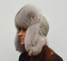 Luxury Saga Furs Space Gray Fox Fur & Gray Leather Winter Ushanka Aviator Hat