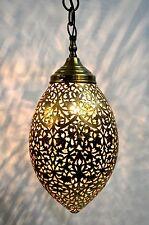 Hand pierced Fret Sawing Egg Shape Moroccan solid antique ceiling lantern-H36 cm