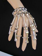Women Jewelry Skeleton Skulls Bracelet Silver Metal Hand Chains 5 Fingers Ring