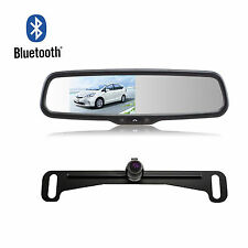 Bluetooth Handsfree Car Mirror Monitor Dual Video Inputs + License Plate Camera