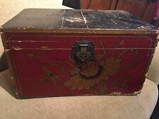 Antique Chinese Blanket Box. Marriage Chest Red Gold Black Dynasty Qing Oriental