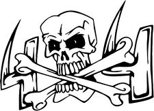 "4x4 Skull Decal Sticker Car Truck Window- 6"" Wide White Color"