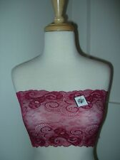 NWTS Sexy Strapless Bra Lace Dark Pink Swirl Lacy Bandeau Tube Top 28 30 32 34