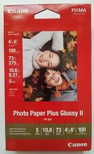 "Brand New Canon Photo Paper Plus Glossy II PP-201, 4"" x 6"", 100 Sheets, 2311B023"