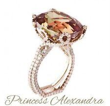 ROYAL TOP PRINCESS CROWN DESIGN COLOUR. CHANGE ALEXANDRITE DIAMOND RING, RUSSIA