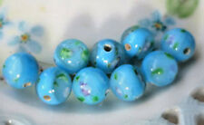 #N809A Vintage Glass Beads Flowers Rose 10mm Sapphire Rounds Smooth floral Lamp