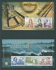 AUSTRALIA 1999 INTERNATIONAL STAMP EXHIBITION PAIR OF SHEETS UNMOUNTED MINT