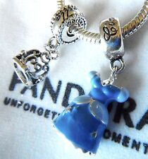 2 PC CINDERELLA TIERA CROWN DRESS GOWN DISNEY LAND CHARM BEAD FREE JEWELRY POUCH