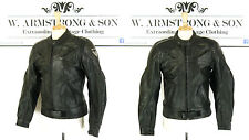 Men's Black Biker REAL LEATHER FRANK THOMAS Padded Motorcycle Punk Jacket UK M