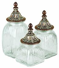 Benzara home accent Glass Canister set of 3 NEW