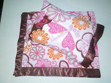 NEW PinkBrown Butterflies Satin Fleece Toddler Blanket/Pillow Case Baby Gift Nap