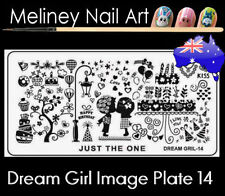 Dream Girl 14 Stamping Nail Art Image Plate Design Rectangle XL Stencil metal