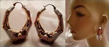 "GOLD, WHITE, ROSE GOLD THICK CHUNKY ACRYLIC OCTAGON 1.5"" HOOP EARRINGS NEW"