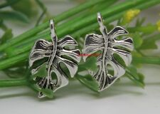 40pcs auspicious Tibet silver autumn leaves Jewelery finding Charm Pendant