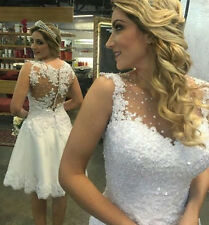 Short Length White Lace Wedding Dresses Custom Color SIZE Bridal Dresses