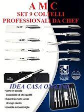A M C SET 9 COLTELLI PROFESSIONALI DA CHEF  ACCIAIO INOX  18/10