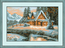 Winter View Streamside Log Cabin 14 Count Cross Stitch Kit By Riolis 38 x 26cm