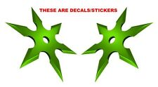 Sticker Set Ninja Throwing Chinese Star Weapon Green Decal Sticker