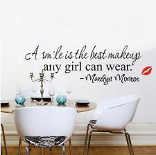 Home Decor Decal Art Mural Smile Makeup Marilyn Monroe Quote Vinyl Wall Sticker