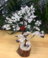 """8"""" Amethyst Clear Quartz Tree Gemstone Crystal Gem Tree Feng Shui Luck Gift."""
