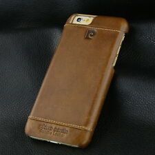 PIERRE CARDIN Genuine Leather Hard Back Case Cover For Apple iPhone 6s / 6 Brown