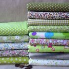 """Cotton 14 Assorted Green Pre Cut Charm 10"""" Squares THIN Quilt Fabric"""