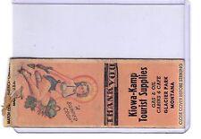 Kiowa Kamp Tourist Trap, Glacier Park, Montana 1940s pinup girl matchbook cover