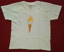 Childs age 7 - 8 size Redcar Lemon Top T-Shirt ice cream fruit of the loom