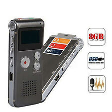 8GB Digital Audio Voice Recorder Rechargeable Dictaphone Telephone MP3 Player UK