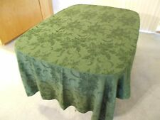 """Christmas Table Cloth, Emerald Green Poinsettia with Berries, 57"""" x 98.5"""""""