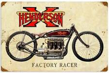 Henderson Fatory Racer Vintage Metal Motorcycle Racing Sign Wall Decor FRC063