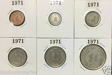 Singapore 1971 Year of the Pig  Circulated Coin Set 1ct - $1 (Rare Key Date)