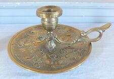 bougeoir à main bronze laiton repoussé candlestick